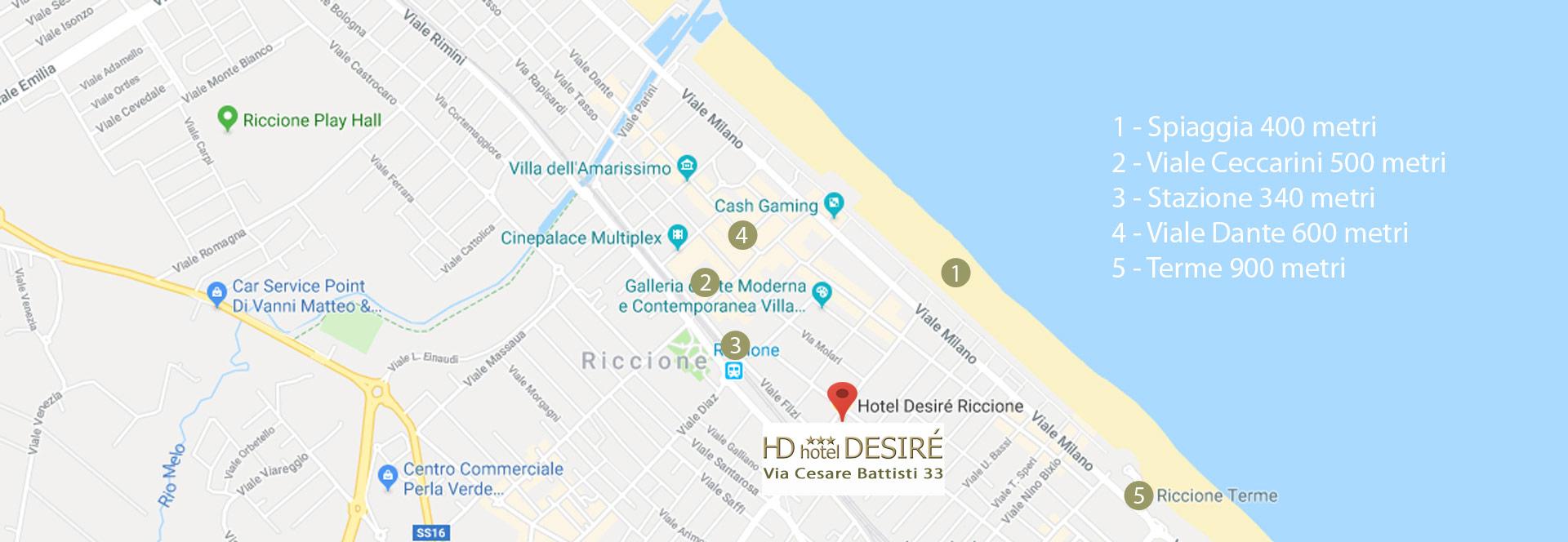 Mappa Hotel Desiré Riccione